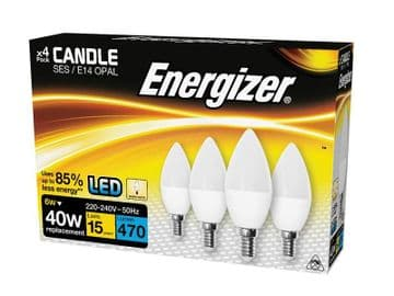 LED SES (E14) Opal Candle Non-Dimmable Bulb, Warm White 470 lm 5.9W (Pack 4)